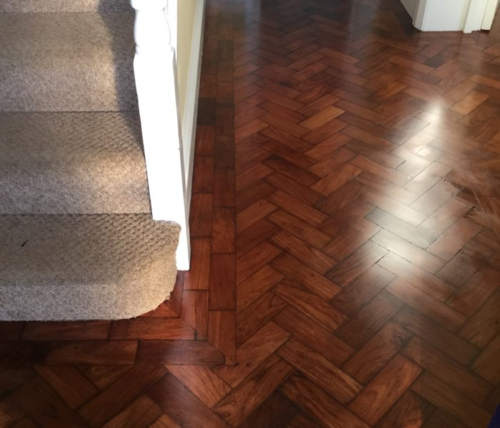 Sanding Waxing Of Herringbone Parquet Floor Chester Wood