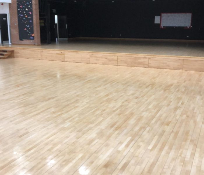 Rudheath Senior Academy floor restored using Junckers HP sport lacquer